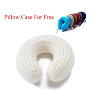 Wholesale Latex U Pillow - Bed Natural Latex Pillows U-shaped Body InflatableTravel Airplane Pillows Neck Cervical Healthcare Pillows With Cases travesseiro de latex