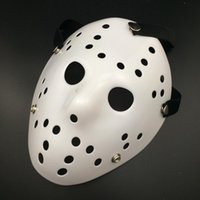 Wholesale jason face - 2017 Halloween WHite Porous Men Mask Jason Voorhees Freddy Horror Movie Hockey Scary Masks For Party Women Masquerade Costumes