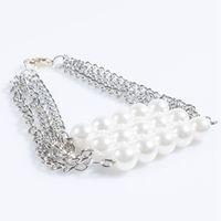 Wholesale Heavy Metal Jewelry Wholesale - Luxury Brand Bracelet Three Layers Pearls Chains Bracelets Trendy Punk Style Heavy Metals Bracelet Bangle For Women Party Jewelry
