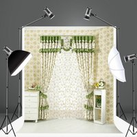 Wholesale Indoor Photography Backdrops - Living Room Photography Background Patterned Curtain Photo Backdrop Cotton Seamless No Wrinkle Indoor Backdrops for Photographers S-903