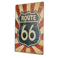 Atacado- Best Gift 1pc Route 66 Antique Vintage Metal Tin Sheet Sign Poster Decoração de parede Home Pub Bar 20x30cm