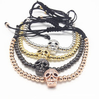 Wholesale Tigers Eye Skull Bracelet - Men Gold Stone Clear Zircons Skull Braided European American Weaving Mens Bracelets Tiger Eyes Stone Bracelet
