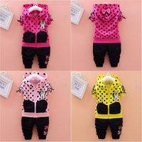Wholesale Dress Polka Dot Pants - 2Pcs Baby Girls Polka Dot Minnie Mouse Zipper Coat Tops + Pants Set Kids Outfits