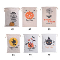 Wholesale Treat Bag Wholesale - Canvas bags halloween gift bags kids candy bag 6 styles halloween sack for children canvas bags Candy Gift Sack Treat or Trick Pumpkin