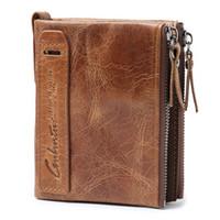 Wholesale Double Zipped Purses - Crazy horse head layer Leather Double Zip Wallet wallet men's Leather Coin Purse