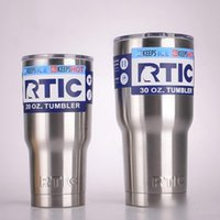 Wholesale Beer Stainless - RTIC Cups 20oz 30oz Large Capacity Mug Tumbler Car Beer Cups Stainless Steel Vacuum Double Vacuum Insulation Wall Water Cups OOA2114