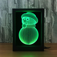 Wholesale 3d floral frames for sale - Group buy Snowman D Lamp LED Photo Frame Decoration Lamp IR Remote RGB Lights DC V Factory Drop Shipping Color Gift Box