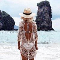 Wholesale Dress Beach Night - 2017 Europen New Sexy Summer Style Bohemian Lace Backless Cardigan Beach Vacation Long Sleeves Sunscreen Lace Dress Hollow Out Party Dress