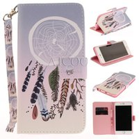 Wholesale Tiger Iphone Flip Case - PU Leather Phone Cases for iphone 8 7 Flower Pug Dog Cat Lion Tiger Wolf Pattern Flip Wallet Case For Samsung S8 with Lanyard