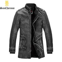 Wholesale New Arrival Autumn Winter Leather Jacket Warm Long Men Winter Jacket Cotton Padded Leather Jacket Winter Coat Size M XL
