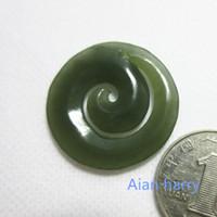 Wholesale Natural Green Jade Pendant - Natural Nephrite Jade Koru Pendant, New Zealand   NZ Maori Style Art