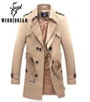 Wholesale Long Down Coat For Men - Wholesale- 2017 New Arrival Style Man Trench Coat Fashion Brand Single Breasted Turn-down Collar Long Trench Coat for Man 6XL Plus