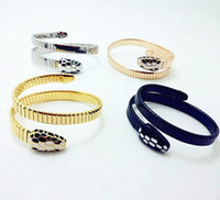 Wholesale Trade Plate - Titanium steel jewelry wholesale foreign trade bracelet 18K gold exaggerated color snake-head spring bracelet bracelet accessories