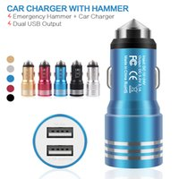 Wholesale Emergency Smartphone Charger - 2017 New High Quality 1A 2.1A 5V Dual USB Port Car Charger With Emergency Hammer Vehicle Chargers For iphone Samsung Smartphone