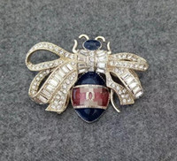 Wholesale Amber Bee - New &#67hanel lady diamond bee brooch gold and silver color