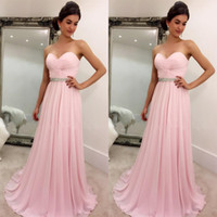 Wholesale Elegant Dressess - 2017 Blush Pink Prom Dressess Simple Elegant Cheap Prom Dress Ruched Chiffon Sweetheart Sleeveless Colorful Crystals Light Pink Evening Gown