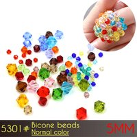 Wholesale Making Bead Curtains - crystal glass beads curtains Bicone Beads 5mm Normall Color A5301 60pcs set glass beads for jewelry making