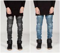 Wholesale Cheap Light Blue Skinny Jeans - Wholesale- 2016 biker Jeans mens denim biker jeans zipper straight men strech slim fit quality jeans classic blue black gray cheap biker