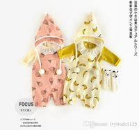 Wholesale Ice Cream 2t - INS new arrivals fall baby kids climbing romper banana and ice cream print cute boy girl kids outwear romper kid sprint fall rompers 0-2T