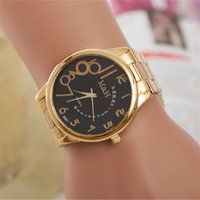 Wholesale watches strip for sale - Group buy wengle new fashion Leisure Business Personality number Asymmetry Golden steel strip Luxury gift dress Quartz watch