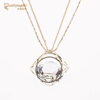 Atacado- Mulheres Exquisite Double Layer Chain Big Crystal Necklace Zinc Alloy Shinny Rhinestone Pendant Long Necklaces Fashion Jewelry