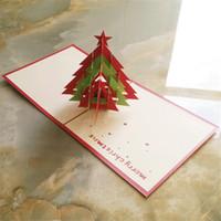 pop up tree card al por mayor-Pop Up Tarjeta de felicitación navideña 3d Árbol de navidad Festival de corte por láser Tarjetas de invitación para fiestas Envío gratis