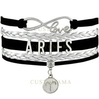 Custom-Infinity Love Aries Bracelet O Signo do Zodíaco Constellation Heart Charm Black Pink Silver Leather Multilayer Bracelet