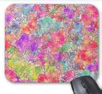 Wholesale Mouse Pas - Rectangular non-slip natural rubber mouse mat bright pink red watercolor floral drawing sketch computer accessories office supplies mouse pa