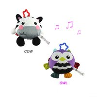 Wholesale Musical Baby Doll - Wholesale- Animal Baby Toy Infant Stuffed Musical Toy In the Crib Rattle Baby Rattles Doll Plush Toy Hanging In The Stroller D031