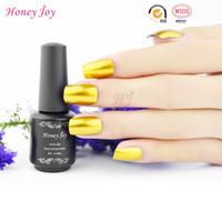 gel metálico para uñas al por mayor-Al por mayor-Honey Joy 1pc color dorado Espejo metálico Empapa del esmalte de uñas Laca de metal 8ml de larga duración Nail Art Top Manicure Tool