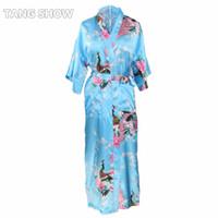 женская одежда для кимоно оптовых-Wholesale- Long Style Blue Plus Size XXXL Ladies' Robe Gown Novelty Kimono Yukata Bathrobe Women Lounge Casual Nightdress Flower Pajamas