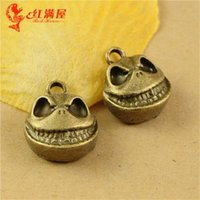 Wholesale Skull Phone Accessories - 16*14*7MM Antique Bronze Retro skull charm beads jewelry pendant, DIY mobile phone accessories Halloween ghost skeleton charm