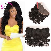 Wholesale Wet Ears - Malaysian Body Wave Pre Plucked Lace Frontal full frontal closure 13x4 Wet And Wavy ear to ear lace frontal closure with babay hair