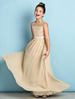 şifon çiçek uzun elbise nedime toptan satış-Şampanya Dantel Genç Gelinlik Modelleri Kat-uzunluk Şifon Uzun A-line Scoop Çiçek Kız Nedime Için Elbiseler Ucuz