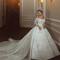 Wholesale Black Sequins Mermaid Ball Gown - Gorgeous Lace Ball Gown Wedding Dresses Cathedral Train 3D Appliques Illusion Long Sleeves Wedding Gowns Off The Shoulder Bridal Dress