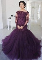 Wholesale Top Fashion Gold Crosses - Sexy Purple Long Sleeves Tulle Evening Dresses Lace Top Cheap A Line Prom Dresses With Buttons Floor Length Robe de soriee