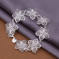 Wholesale wedding flower silver charm bracelet inchs DFMWB317 women s sterling silver plated jewelry bracelet