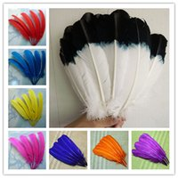 Wholesale Turkey Wedding Decoration - Wholesale 100pcs 12-14inch (30-35cm) white with black top Turkey quill round turkey round feather turkey quill WWM-001