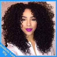 Wholesale kinky cosplay online - Short Black Curly Wigs Fiber Afro kinky Curly Hair Wigs Synthetic Lace Front Short Wigs For Black Women Lace Front Cosplay Hair InStock