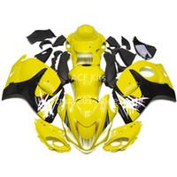 siyah sarı motosiklet fuar toptan satış-5 ücretsiz hediyeler Yeni ABS motosiklet Fairing Kitleri 100% SUZUKI GSXR1300 Hayabusa 2008-2014 Için Fit iyi güzel sarı ve siyah Makale no.328