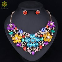 Moda Bridal Jewelry Sets Wedding Necklace Earring For Brides Party Costume Accessories Indian Decoração Mulheres