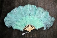 Mint Green Marabou Strauß Fether Fan große Feder Fan ausklappen Hand Fan 21