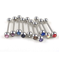 Wholesale Tragus Ear Rings - 1PC Stainless Steel Cartilage Tragus Barbell Tongue Ring Piercing Ear 10 Colors Nail Ear Clasp Ear Bone Barbell Body Jewelry