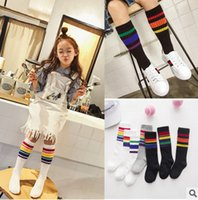 Wholesale Girls Striped Leggings - INS Girls socks preppy style children Stockings girls colorful stripe tight kids pure cotton leggings Girls princess stockings T3273