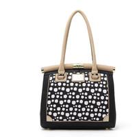 Wholesale Pretty Handbags - H2093 ELEGANT Modern Fashion Women DESIGNER PRETTY BLACK WHITE DOTS Satchel HANDBAG 0.15
