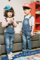 Wholesale Boys Blue Jean Pants - 2017 Baby Boys and Girls Denim Suspender Pants Babies Wash Blue Fashion Jean Overalls Children's Spring Casual clothing