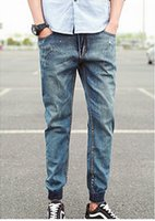 Wholesale Jeans Fashion Men Korea - Wholesale-2015 New Fashion mens Korea Stylish light washed Jogger jeans men cropped Jeans Gradient Skinny anbass slim fitted pants,JA815