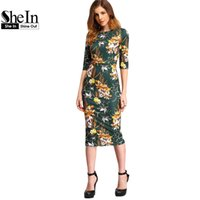 Wholesale Womens Work Out Shorts - Wholesale- SheIn Womens Autumn Dress Bodycon Dresses New Vintage 2016 Spring Summer Office Green Mock Neck Floral Pencil Midi Dress