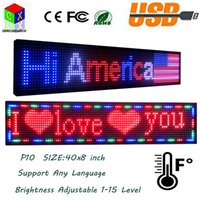Novo SMD P10 Outdoor Full Color LED sign 40X8 polegadas USB Informações de rolamento programáveis ​​LED Display Screen