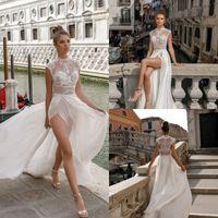 Wholesale High Slit Lace Dress - Sexy Lace Applique Wedding Dresses Illusion Spilt Gowns Plus Size High Neck Chiffon Dress For Wedding